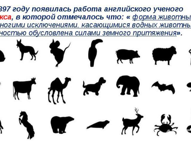 В 1897 году появилась работа английского ученого Крукса, в которой отмечалось что: « форма животных, за немногими исключениями, касающимися водных животных, полностью обусловлена силами земного притяжения».