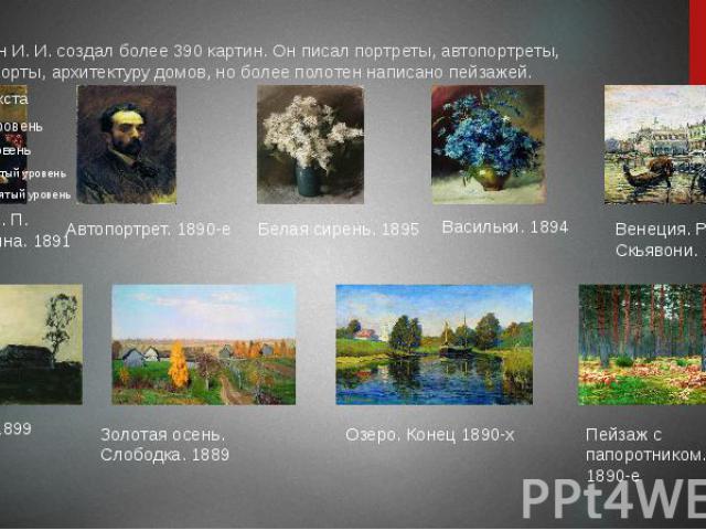 Левитан И. И. создал более 390 картин. Он писал портреты, автопортреты, натюрморты, архитектуру домов, но более полотен написано пейзажей.