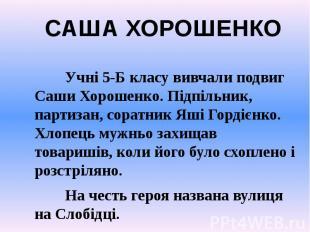 Учні 5-Б класу вивчали подвиг Саши Хорошенко. Підпільник, партизан, соратник Яші
