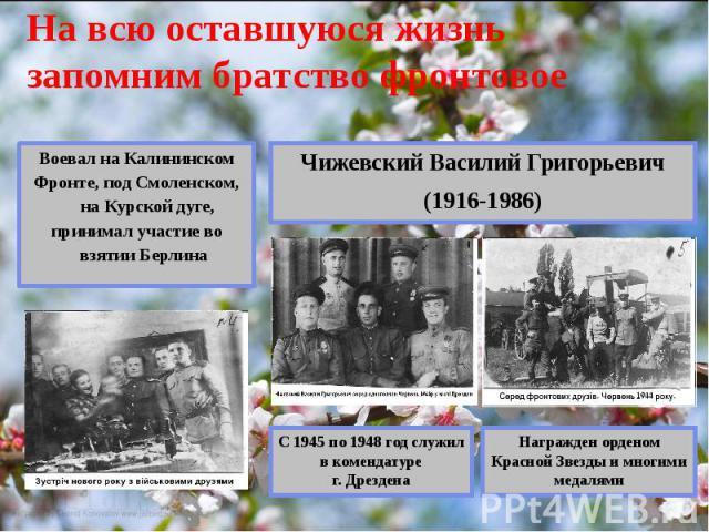 На всю оставшуюся жизнь запомним братство фронтовое Воевал на Калининском Фронте, под Смоленском, на Курской дуге, принимал участие во взятии Берлина