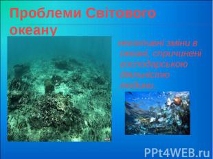 Проблеми Світового океану негативні зміни в океані, спричинені господарською дія