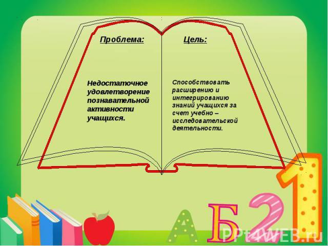 Способствовать расширению и интегрированию знаний учащихся за счет учебно –исследовательской деятельности.