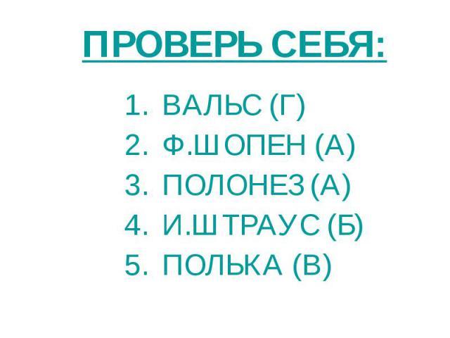 ВАЛЬС (Г) Ф.ШОПЕН (А) ПОЛОНЕЗ (А) И.ШТРАУС (Б) ПОЛЬКА (В)