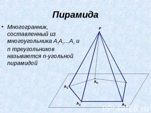 Пирамида Многогранник, составленный из многоугольника A1A2…An и n треугольников