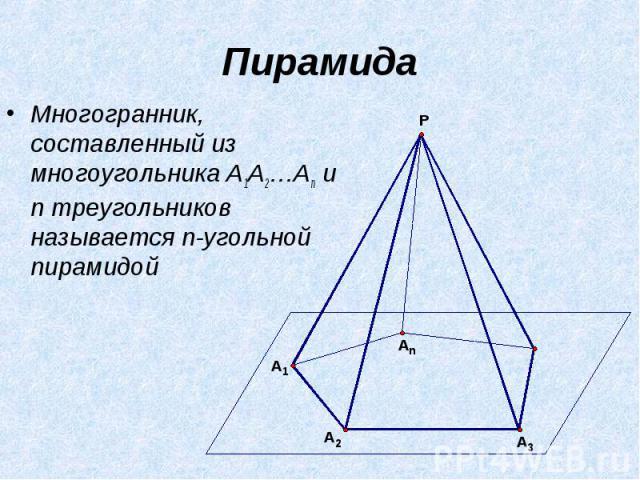 Пирамида Многогранник, составленный из многоугольника A1A2…An и n треугольников называется n-угольной пирамидой