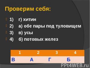 1) г) хитин 1) г) хитин 2) а) обе пары под туловищем 3) в) усы 4) б) потовых жел