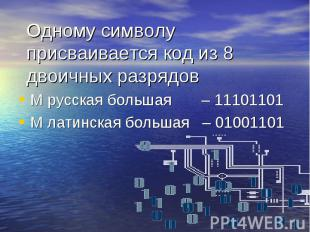М русская большая – 11101101 М русская большая – 11101101 М латинская большая –