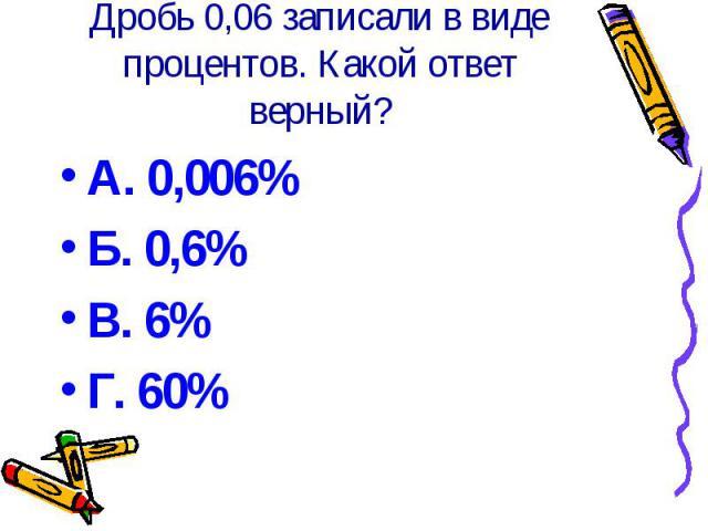 Дробь 0,06 записали в виде процентов. Какой ответ верный? А. 0,006% Б. 0,6% В. 6% Г. 60%