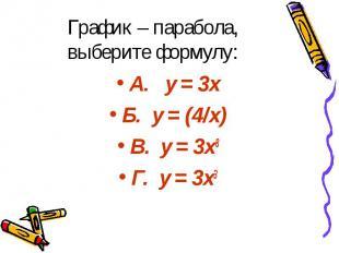 График – парабола, выберите формулу: А. y = 3x Б. y = (4/х) В. y = 3x8 Г. y = 3x