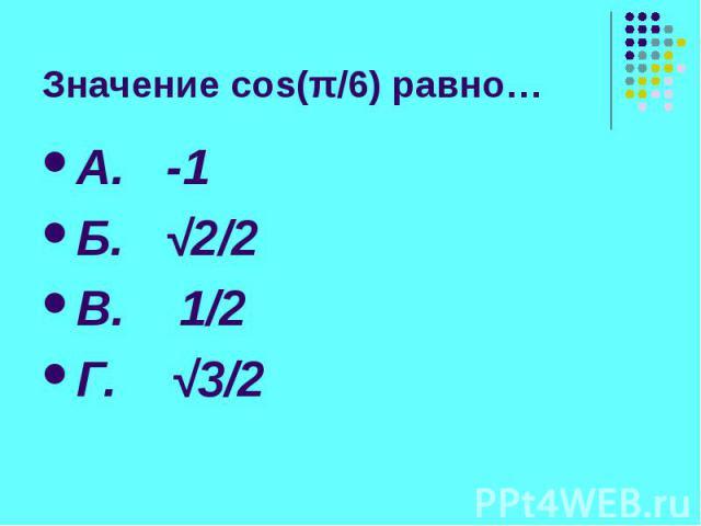 Значение cos(π/6) равно… А. -1 Б. √2/2 В. 1/2 Г. √3/2