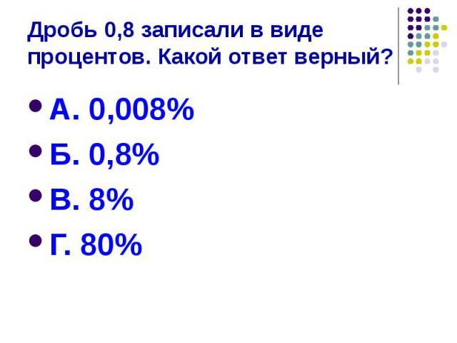 Дробь 0,8 записали в виде процентов. Какой ответ верный? А. 0,008% Б. 0,8% В. 8% Г. 80%