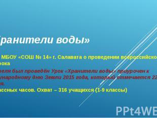 «Хранители воды» Отчёт МБОУ «СОШ № 14» г. Салавата о проведении всероссийского э