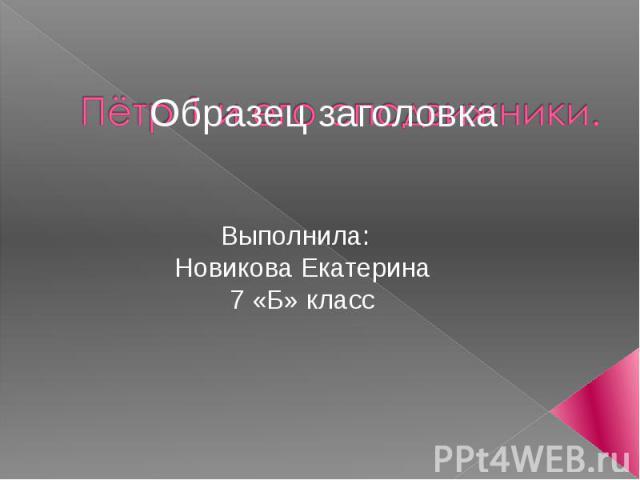 Выполнила: Новикова Екатерина 7 «Б» класс