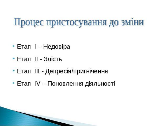 Етап I – НедовіраЕтап I – НедовіраЕтап II - ЗлістьЕтап III - Депресія/пригніченняЕтап IV – Поновлення діяльності