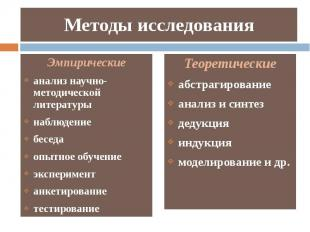 Методы исследования Теоретические абстрагирование анализ и синтез дедукция индук