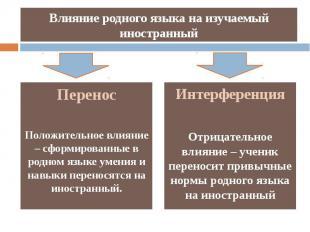Влияние родного языка на изучаемый иностранный Интерференция Отрицательное влиян