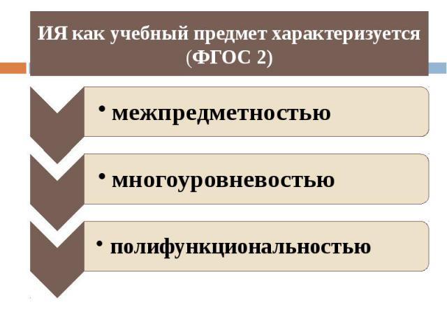 ИЯ как учебный предмет характеризуется (ФГОС 2)
