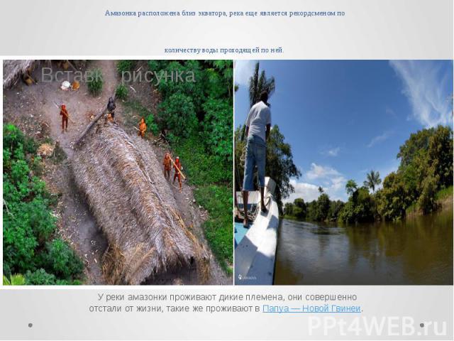 Амазонка расположена близ экватора, река еще является рекордсменом по количеству воды проходящей по ней. У реки амазонки проживают дикие племена, они совершенно отстали от жизни, такие же проживают вПапуа — Новой Гвинеи.