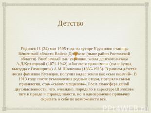 Родился 11 (24) мая 1905 года на хуторе Кружилин станицы Вёшенской области Войск