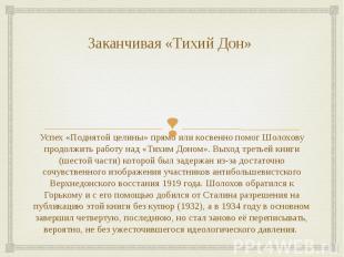 Заканчивая «Тихий Дон» Успех «Поднятой целины» прямо или косвенно помог Шолохову