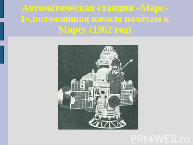 Автоматическая станция «Марс-1»,положившая начало полётам к Марсу (1962 год)