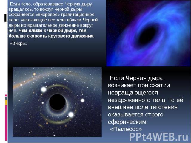 Если тело, образовавшее Черную дыру, вращалось, то вокруг Черной дыры сохраняется «вихревое» гравитационное поле, увлекающее все тела вблизи Черной дыры во вращательное движение вокруг неё. Чем ближе к черной дыре, тем больше скорость кругового движ…