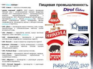 Пищевая промышленность ООО «Дирол Кэдбери» ОАО «Алкон»— алкоголь и п