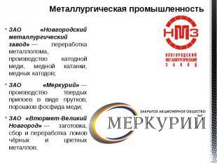 Металлургическая промышленность ЗАО «Новгородский металлургический завод»—