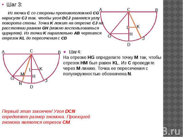 Шаг 3: Шаг 3: Из точки C со стороны противоположной CG нарисуем CJ так, чтобы угол DCJ равнялся углу поворота стены. Точка K лежит на отрезке CJ на расстоянии равном GH (можно воспользоваться циркулем). Из точки K параллельно АВ чертится отрезок KL …