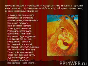 Шевченко перший в українській літературі виступив як істинно народний поет, твор