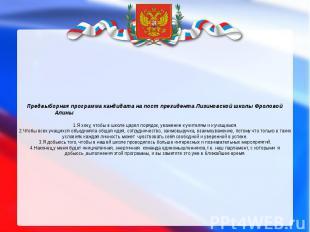 Предвыборная программа кандидата на пост президента Лизиновской школы Фроловой А