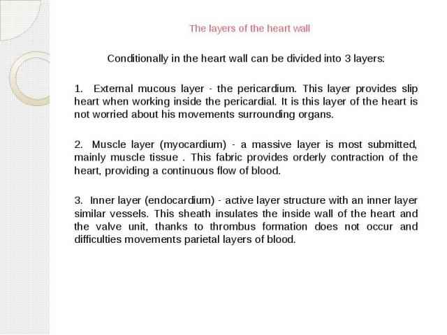 The layers of the heart wall Conditionally in the heart wall can be divided into 3 layers: 1. External mucous layer - the pericardium. This layer provides slip heart when working inside the pericardial. It is this layer of the heart is not worried a…