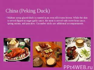 China (Peking Duck) Maltose syrup glazed-duck is roasted in an oven till it turn
