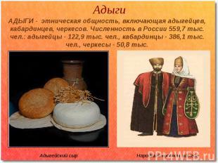 Адыги АДЫГИ - этническая общность, включающая адыгейцев, кабардинцев, черкесов.
