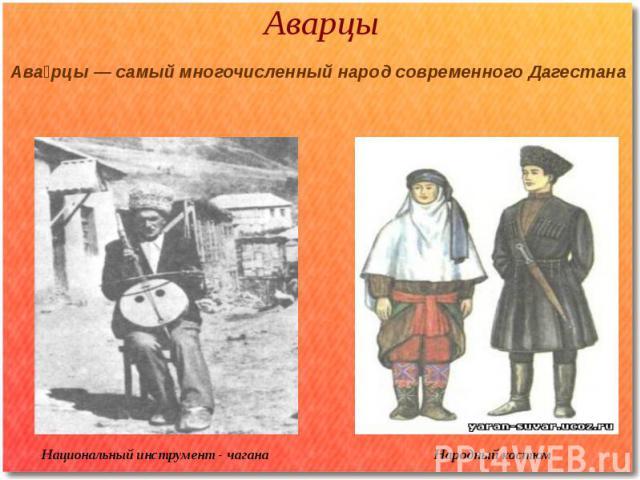 Аварцы Национальный инструмент - чагана Народный костюм