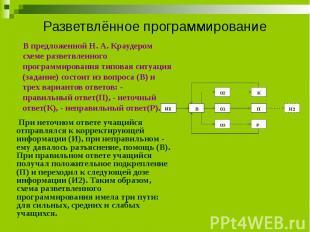 Разветвлённое программирование В предложенной Н. А. Краудером схеме разветвленно