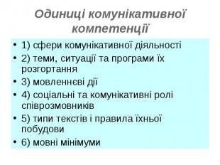 1) сфери комунікативної діяльності1) сфери комунікативної діяльності2) теми, сит