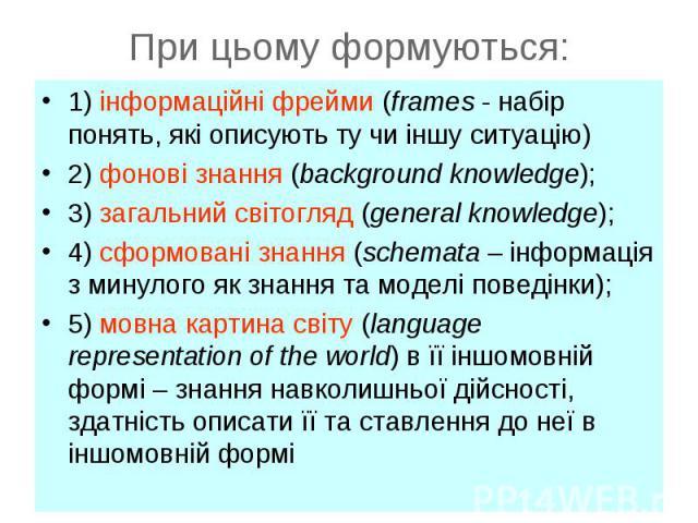 1) інформаційні фрейми (frames - набір понять, які описують ту чи іншу ситуацію)1) інформаційні фрейми (frames - набір понять, які описують ту чи іншу ситуацію)2) фонові знання (background knowledge);3) загальний світогляд (general knowledge);4) сфо…