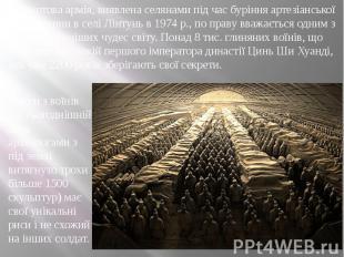 Теракотова армія, виявлена селянами під час буріння артезіанської свердловини в