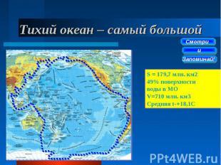 Тихий океан – самый большой S = 179,7 млн. км2 49% поверхности воды в МО V=710 м