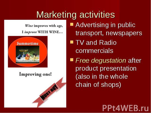 marketing and activity