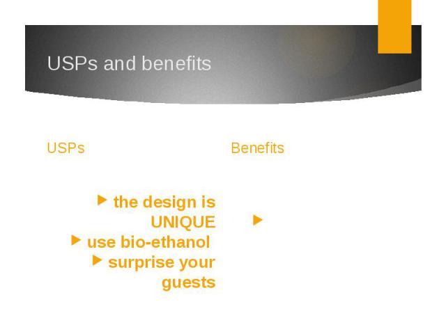 USPs and benefitsUSPs