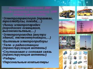 Основные источники ЭМПСреди основных источников ЭМИ можно перечислить: Электротр