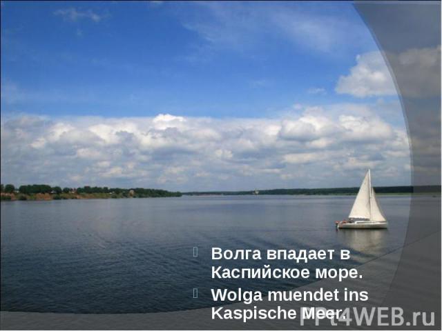 Волга впадает в Каспийское море.Волга впадает в Каспийское море.Wolga muendet ins Kaspische Meer.