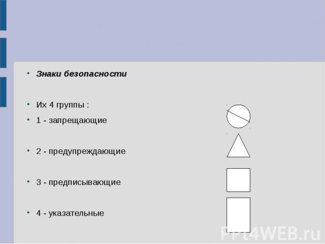 Знаки безопасности Их 4 группы : 1 - запрещающие 2 - предупреждающие 3 - предписывающие 4 - указательные