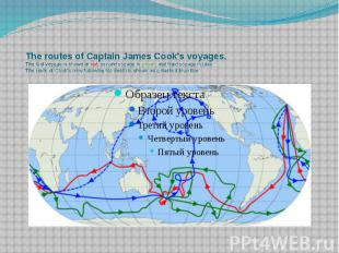 The routes of Captain James Cook's voyages. The first voyage is shown in red, se