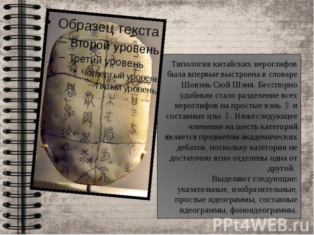 Типология китайских иероглифов была впервые выстроена в словаре Шовэнь Сюй Шэня. Бесспорно удобным стало разделение всех иероглифов на простые вэнь 文 и составные цзы 字. Нижеследующее членение на шесть категорий является предметом академических деб…