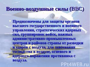 Военно-воздушные силы (ВВС) Предназначены для защиты органов высшего государстве