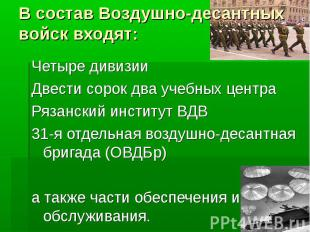 В состав Воздушно-десантных войск входят:Четыре дивизииДвести сорок два учебных