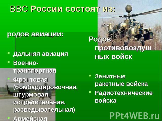 ВВС России состоят из:родов авиации:Дальняя авиацияВоенно-транспортнаяФронтовая (бомбардировочная, штурмовая, истребительная, разведывательная)Армейская
